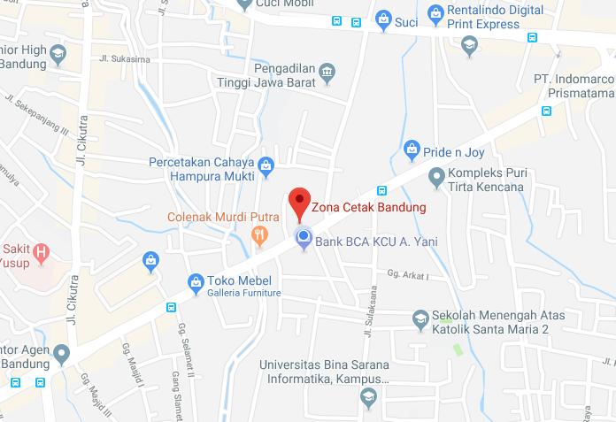 google maps zona - Percetakan Bandung Tanpa Minimal Order
