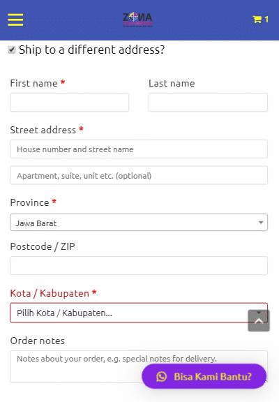 zona cetak bandung checkout 2 - Pesan Via Smartphone