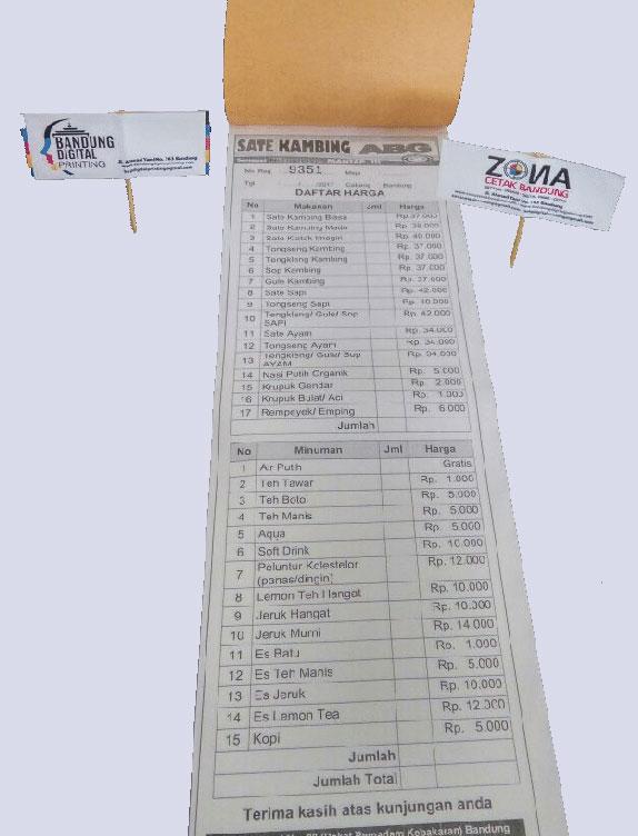 cetak nota - Percetakan Bandung Tanpa Minimal Order
